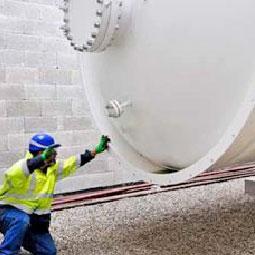 Messer Technician Inspecting Hydrogen Gas Tank