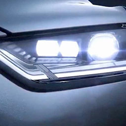 LED headlights on car