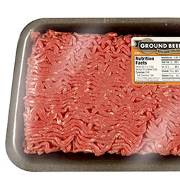 Ground beef in packaging