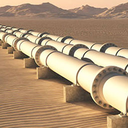 Gas pipeline in desert